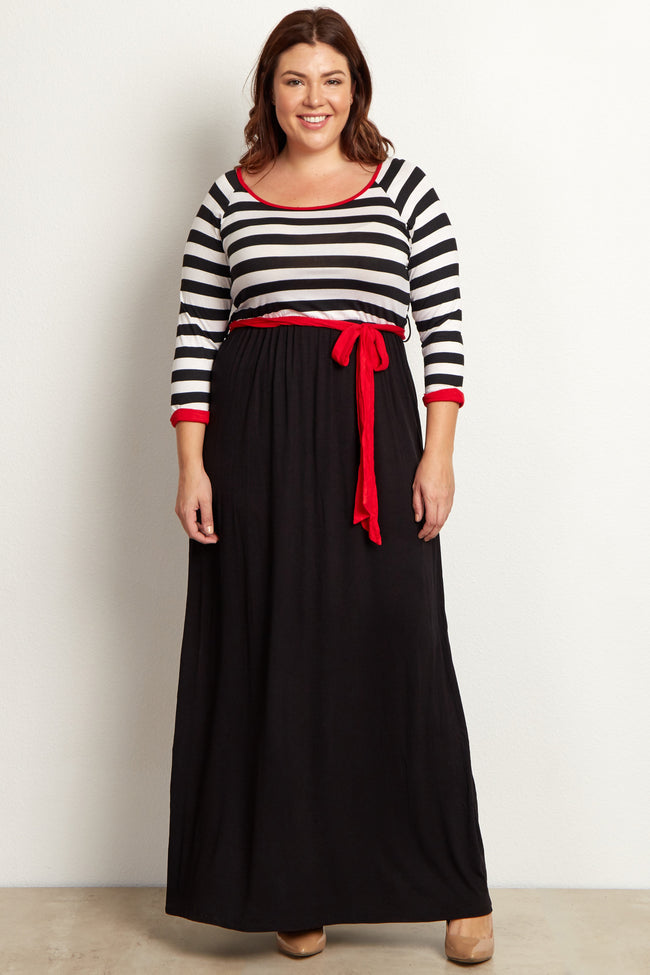 Red Heathered Striped Top Plus Size Maternity Maxi Dress