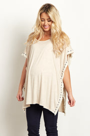 Beige Tribal Fringed Trim Maternity Poncho Top