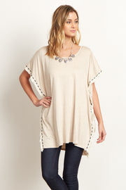 Beige Tribal Fringed Trim Poncho Top