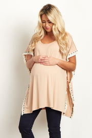 Mocha Tribal Fringed Trim Maternity Poncho Top