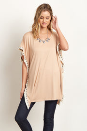 Mocha Tribal Fringed Trim Poncho Top