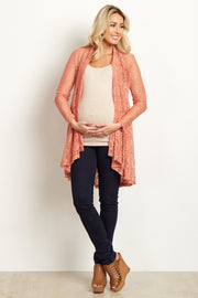 Peach Floral Lace Long Maternity Cardigan