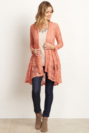 Peach Floral Lace Long Cardigan