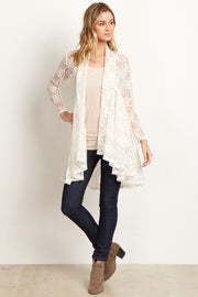 Ivory Floral Lace Long Cardigan