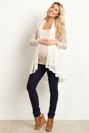 Ivory Floral Lace Long Maternity Cardigan