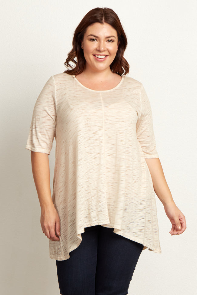 Beige Heathered Short Sleeve Plus Size Top