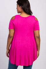Fuchsia Cold Shoulder Maternity Plus Tunic