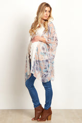 Pink Floral Lace Front Maternity Cover Up