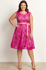 Magenta Green Lace Plus Size Maternity Dress