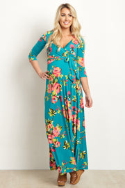 Teal Floral Abstract Draped Maternity Maxi Dress