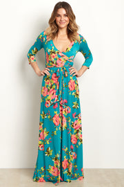 Teal Floral Abstract Draped Maxi Dress