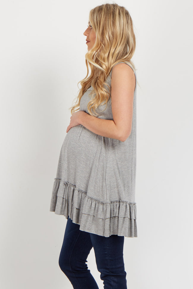 Grey Ruffled Trim Maternity Tank Top