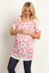Pink Leopard Print Knit Maternity Top