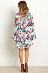 Ivory Floral Bell Sleeve Dress