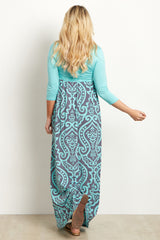 Mint Green Damask Bottom Maternity Maxi Dress