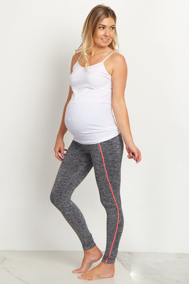 Pink Accent Grey Heathered Cropped Maternity Leggings