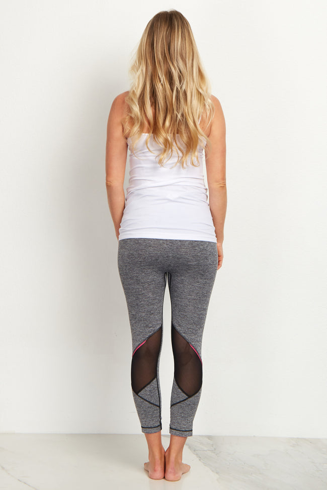Grey Ventilated Active Cropped Maternity Leggings