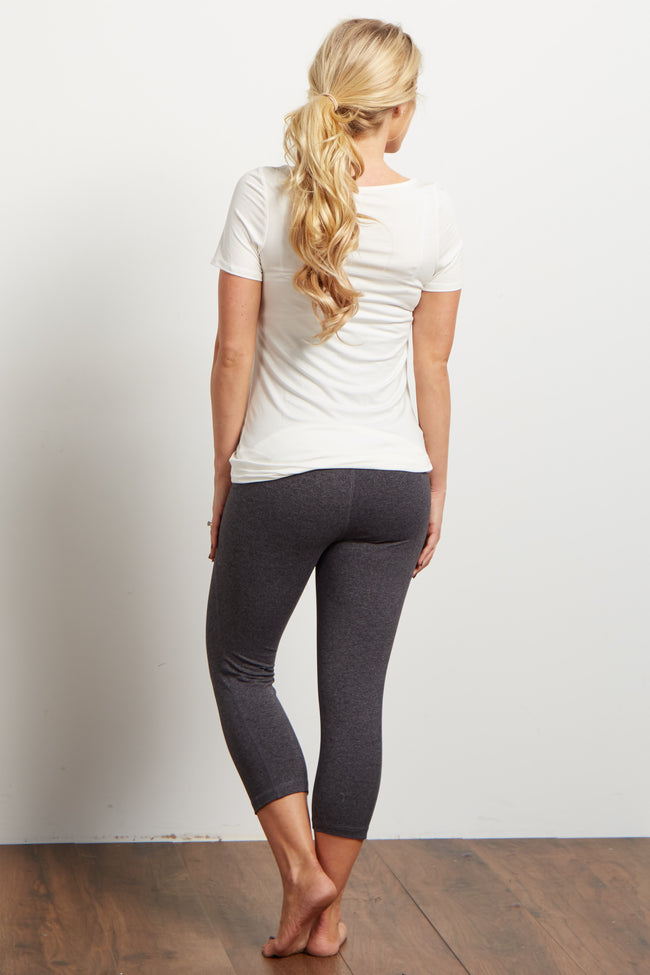 Charcoal Cropped Maternity Workout Pants