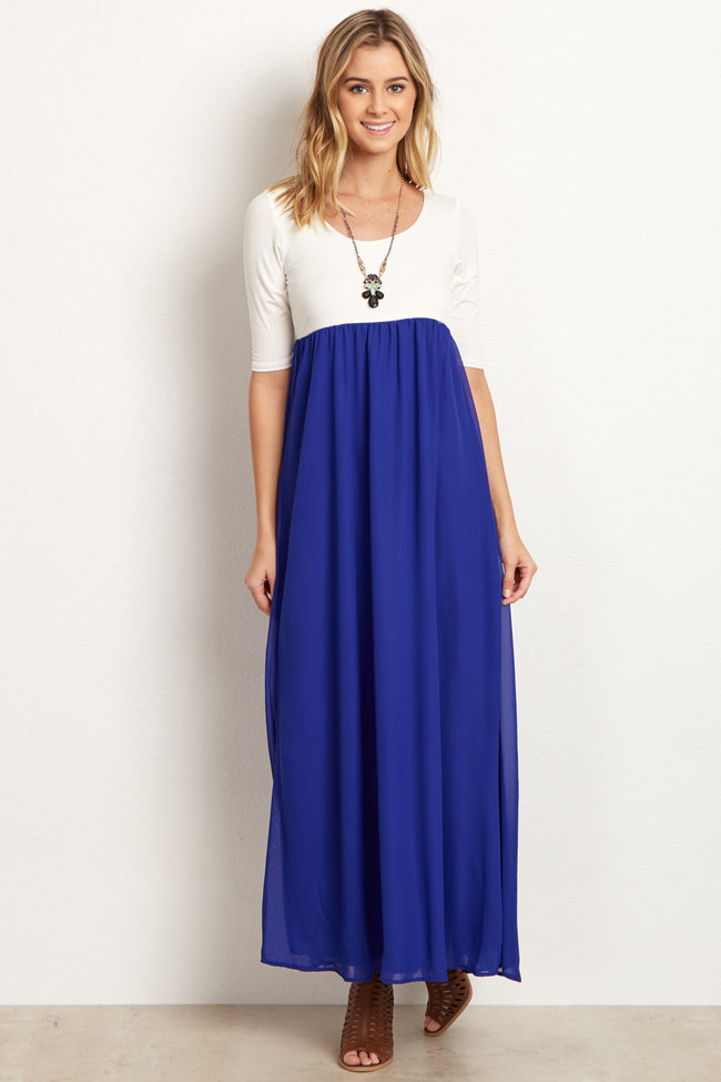Royal Chiffon Colorblock Maternity Maxi Dress
