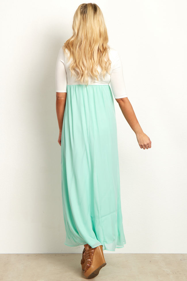 Mint Chiffon Colorblock Maternity Maxi Dress