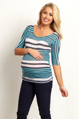 Jade White Alternating Stripes Knit Ruched Maternity Top