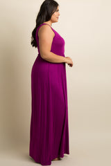 Magenta Basic Sleeveless Plus Maxi Dress