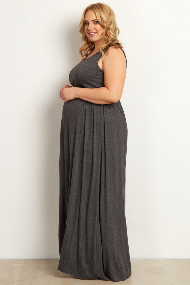 Charcoal Basic Sleeveless Plus Maternity Maxi Dress