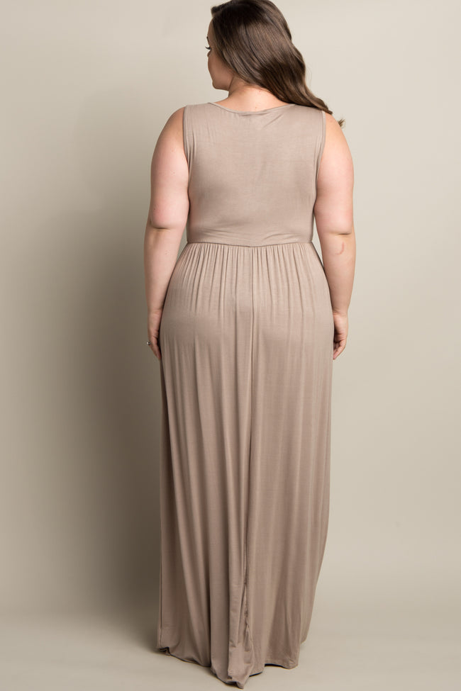 Mocha Basic Sleeveless Plus Maternity Maxi Dress
