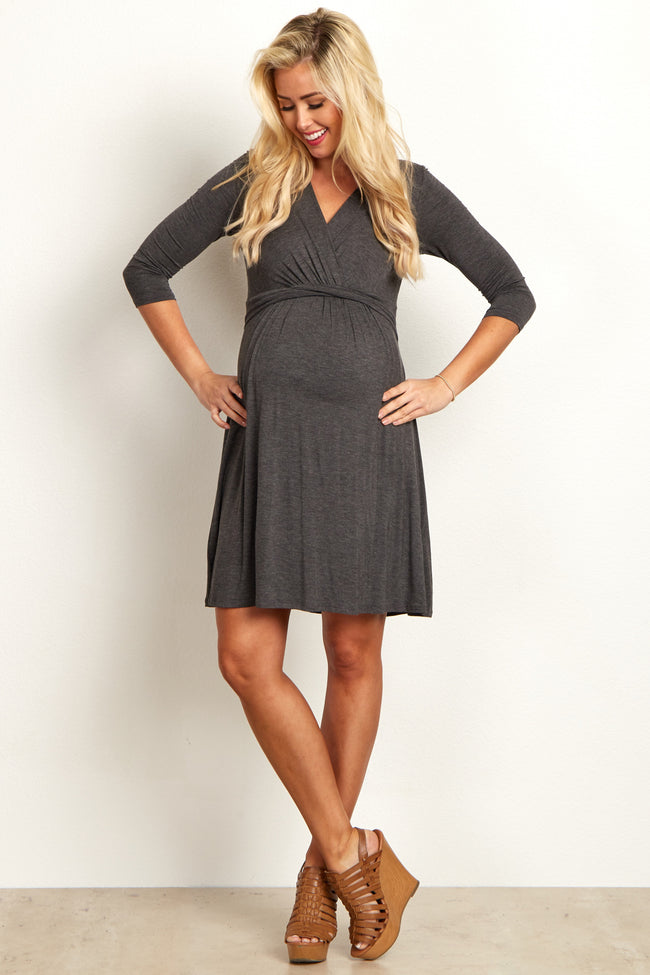 Charcoal 3/4 Sleeve Wrap Maternity/Nursing Dress