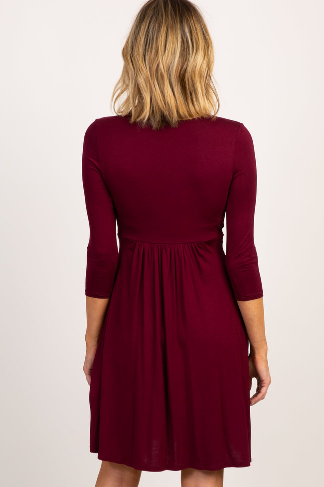 Burgundy 3/4 Sleeve Wrap Nursing Dress