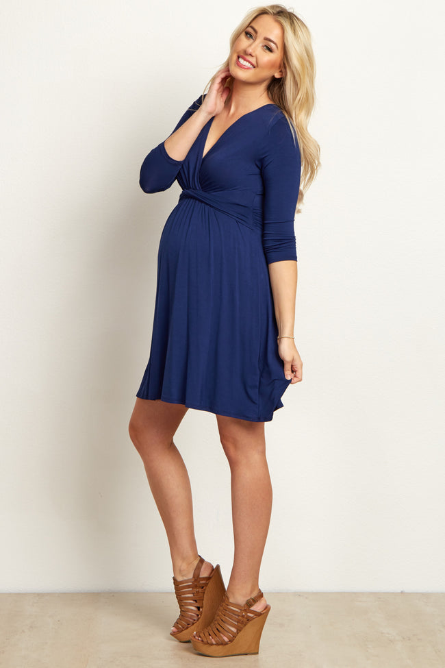 Navy Draped Front Tall Maternity/Nursing Dress