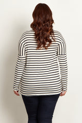 Ivory Striped Crochet Neckline Plus Top