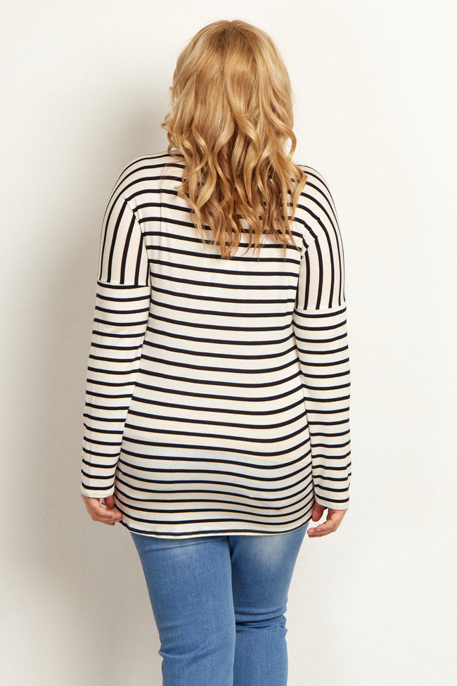 Ivory Striped Crochet Neckline Plus Maternity Top