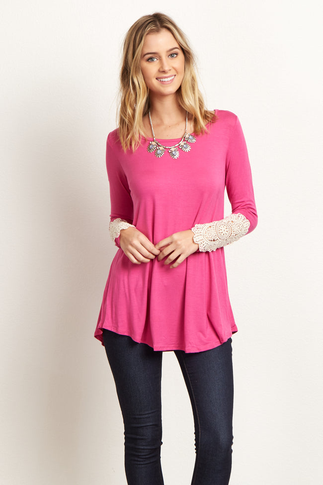 Fuchsia Crochet Sleeve Top