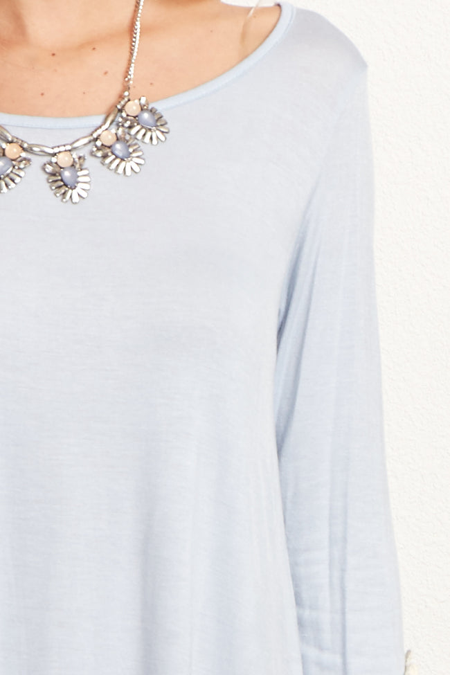 Light Blue Crochet Sleeve Top