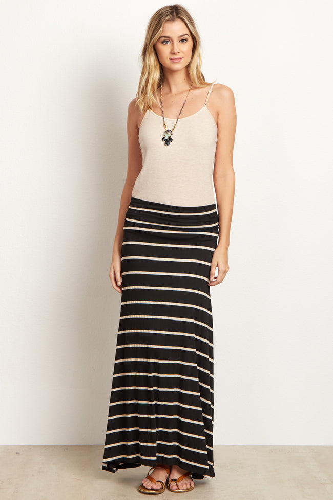 Black Beige Striped Maternity Maxi Skirt