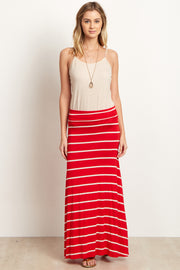 Red Beige Striped Maxi Skirt