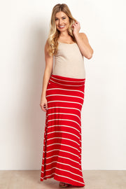 Red Beige Striped Maternity Maxi Skirt