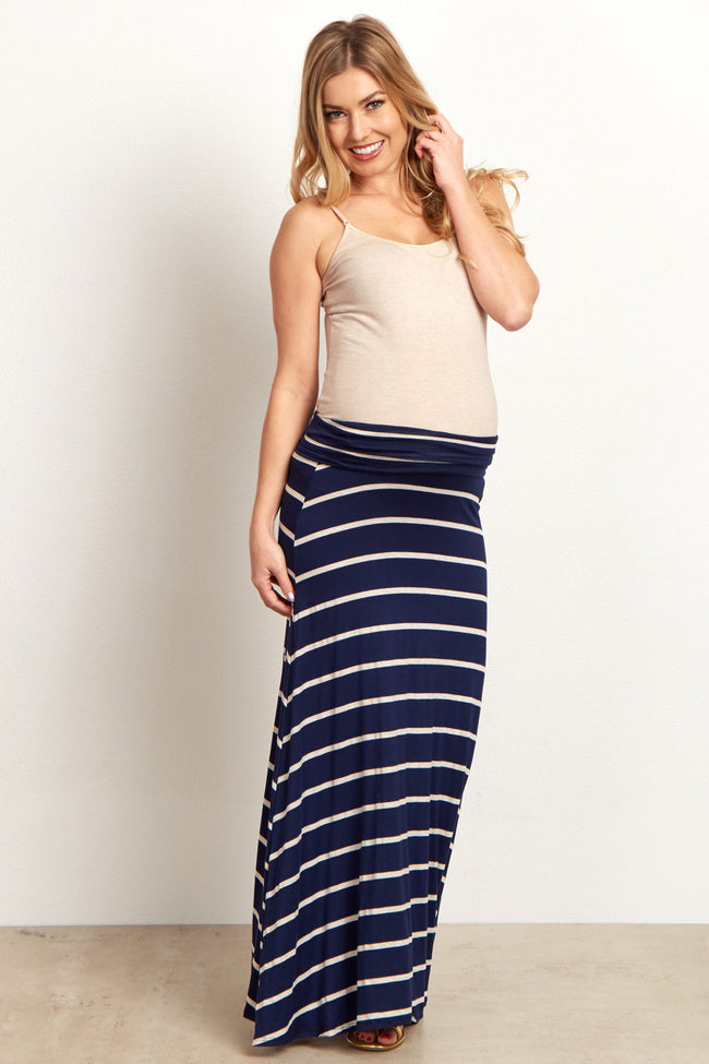 Navy Blue Beige Striped Maternity Maxi Skirt