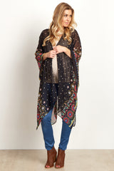 Black Floral Chiffon Long Cover Up