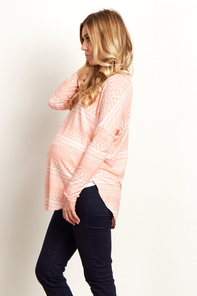 Peach Tribal Floral Long Sleeve Maternity Top
