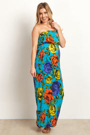 Jade Multi-Color Rose Print Strapless Maternity Maxi Dress