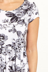 White Grey Floral Short Sleeve Dress
