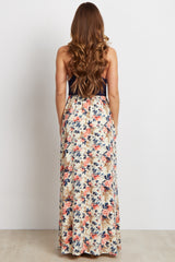 Navy Floral Bottom Maxi Dress