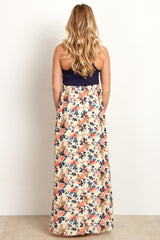Navy Floral Bottom Maternity Maxi Dress