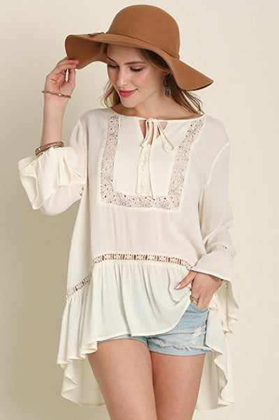 Ivory Button Front Embroidered Bell Sleeve Top