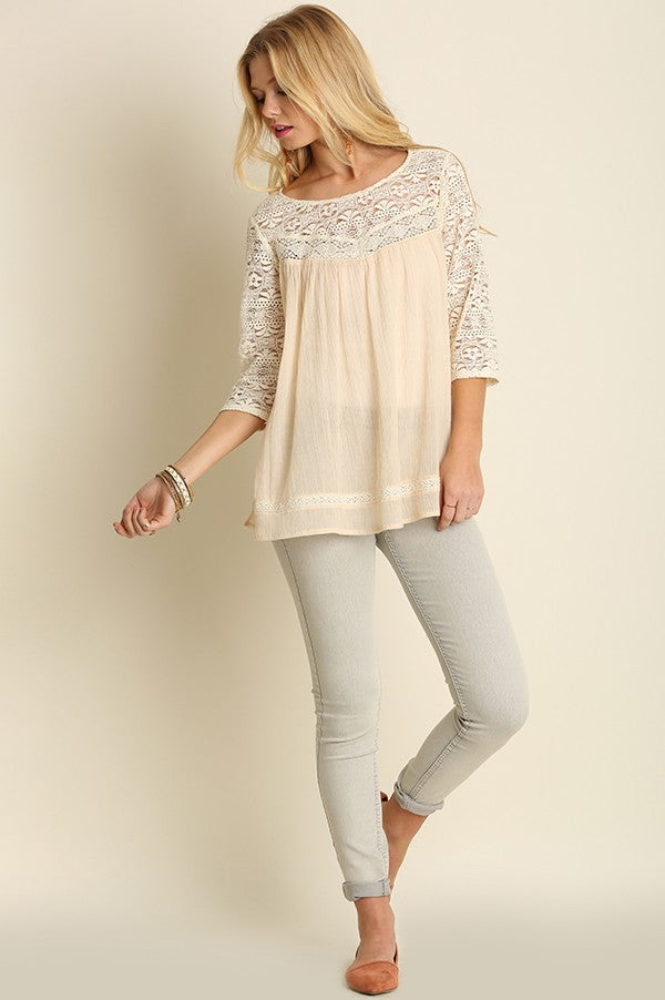 Ivory Lace Accent Babydoll Top