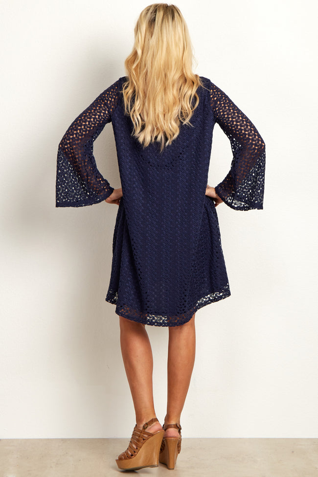 Navy Open Lace Overlay Bell Sleeve Maternity Dress