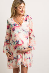 Ivory Abstract Print Cross Front Chiffon Maternity Dress