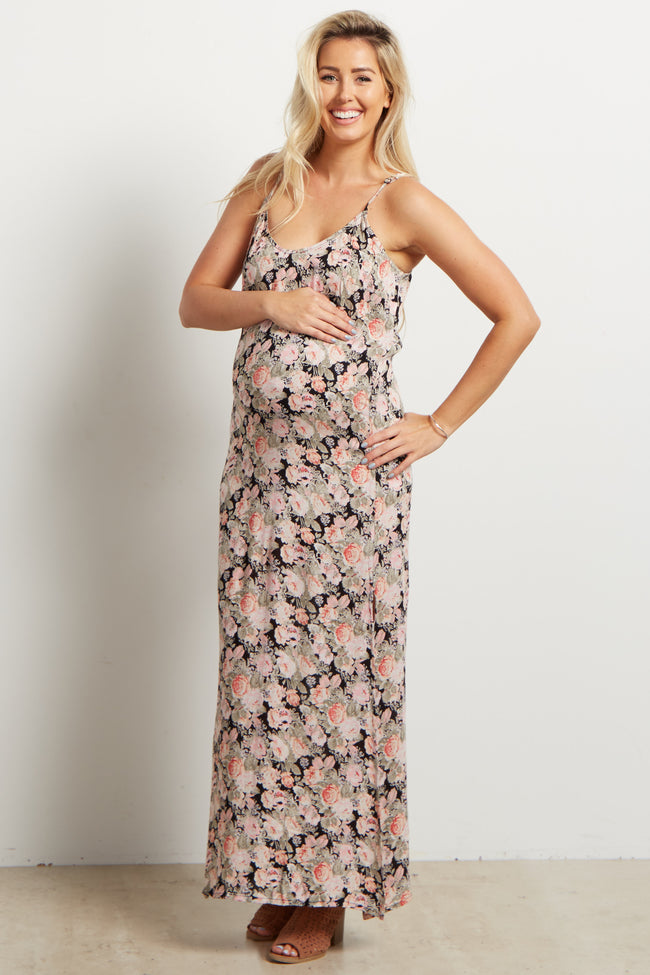 Black Floral Printed Slit Side Maternity Maxi Dress